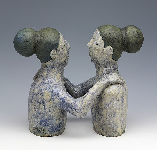 clay ceramic sculpture blue women woman by sara swink