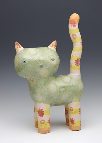 ceramic Sara Swink cat dots spots kitty tail