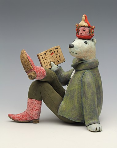 ceramic figure bear storyteller hieroglyphics cowboy boots by Sara Swink