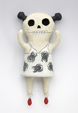 ceramic figure day of the dead spider dress blood pigtails skeleton by Sara Swink