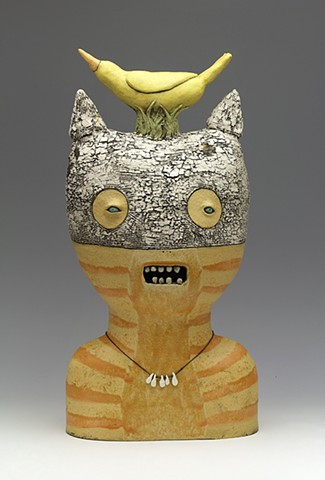 clay ceramic sculpture cat bird teeth crackle by sara swink