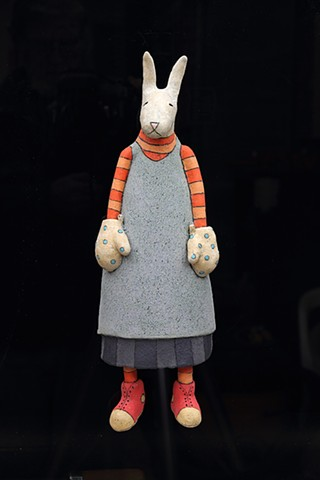 ceramic figure wall piece kanga rabbit by Sara Swink