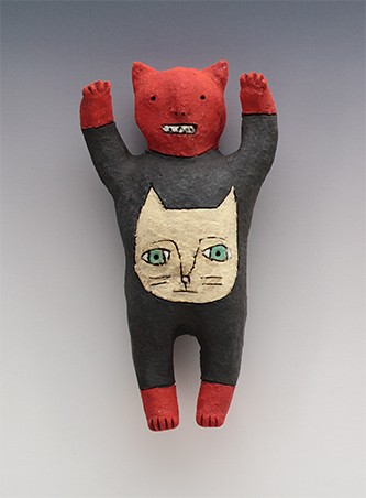 ceramic figure animal cat devil by Sara Swink