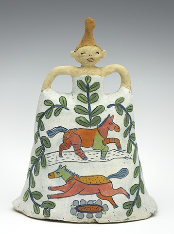 ceramic figure horse dress by Sara Swink