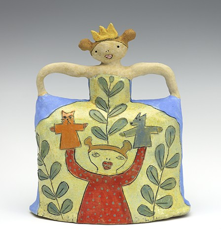 ceramic figure puppet cat dog princess by Sara Swink