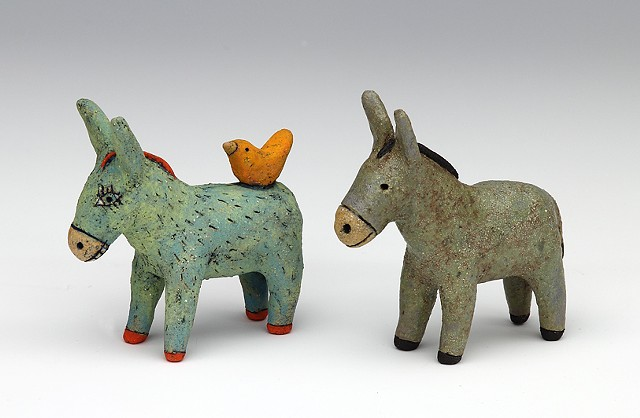Two donkey ornaments