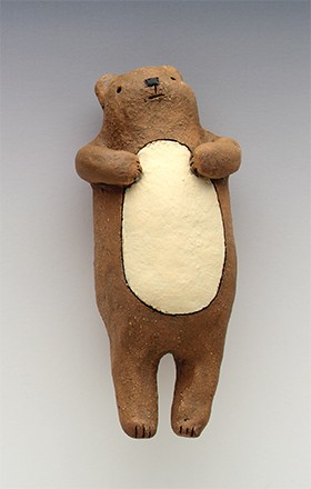 ceramic figure animal teddy bear by Sara Swink