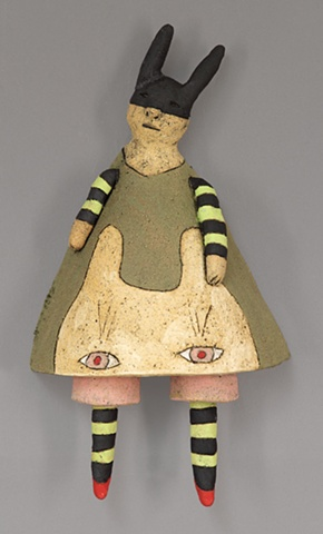 clay ceramic wall piece cat dress bandit hood red shoes by sara swink