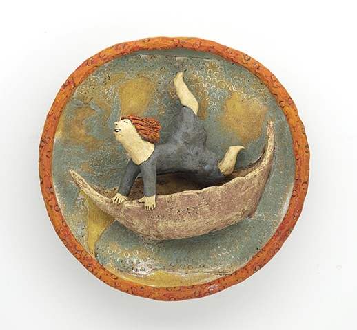 ceramic figure boat wall piece clay sail by Sara Swink