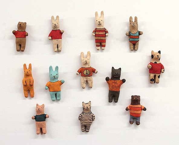 ceramic figure animal cat bear rabbit by Sara Swink