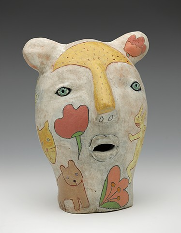 ceramic bear head rabbit cat flower stripes by Sara Swink