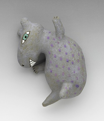ceramic figure clay leaping hippo Wally by Sara Swink