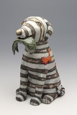 ceramic figure dog fish by Sara Swink