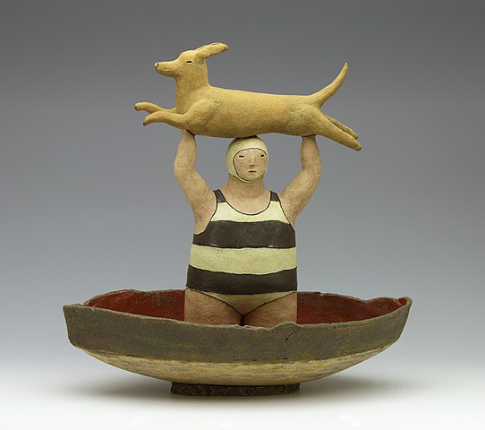 clay ceramic sculpture boat swimmer bather dog sail by sara swink