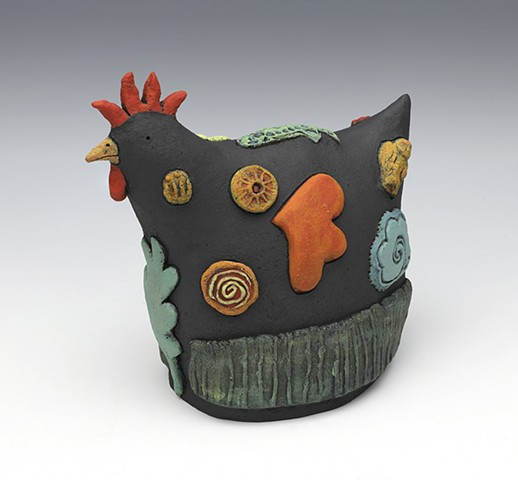 ceramic bird chicken by Sara Swink