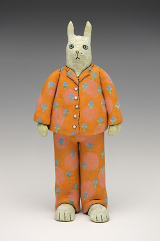 ceramic Sara Swink pajamas clay rabbit