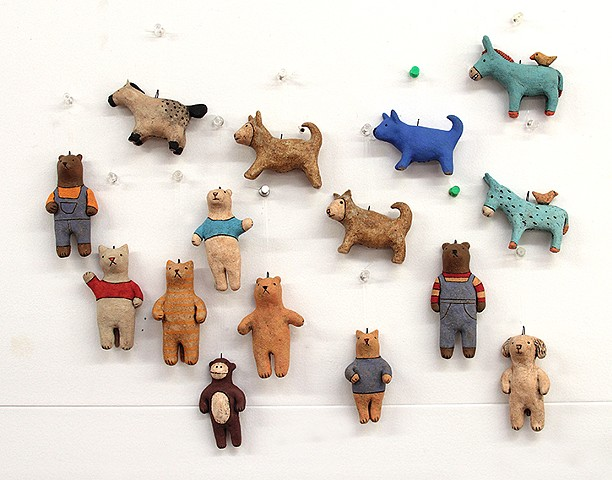 ceramic figure animal dog cat bear donkey monkey by Sara Swink