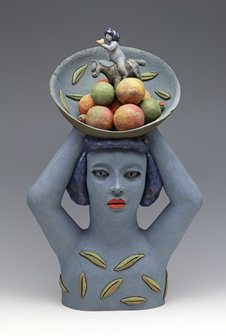 clay ceramic sculpture fruit horse dream woman bowl by sara swink