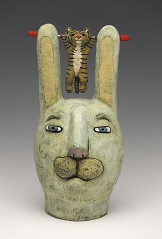 ceramic Sara Swink rabbit tiger figure clay handbuilt