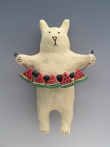 ceramic figure rabbit watermelon bunny wall art pottery by Sara Swink