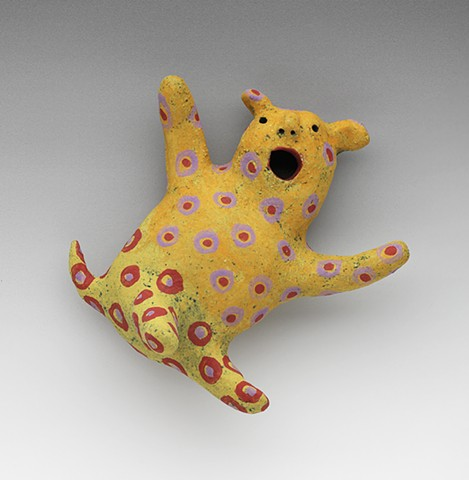 ceramic figure clay leaping critter spots polka dots wally by Sara Swink