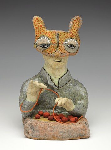 clay ceramic sculpture figure beads mask berries by sara swink
