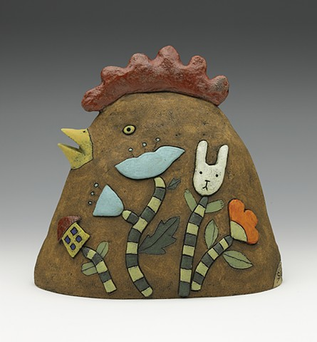 ceramic bird chicken watermelon flower stripes by Sara Swink