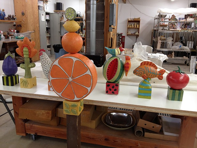 ceramic  Sara Swink New Seasons Market food citrus chicken eggplant tomato fish
