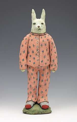 ceramic figure clay rabbit bunny socks pajamas by Sara Swink