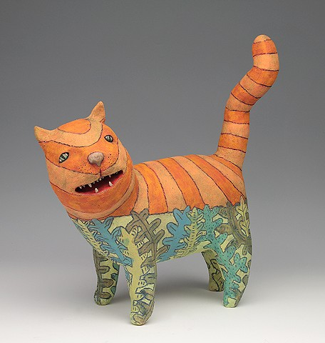 ceramic figure animal cat by Sara Swink