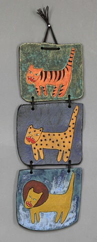 clay ceramic wall piece cat by sara swink