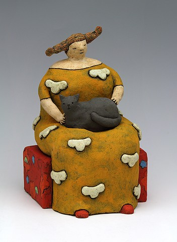 ceramic figure cat cloud by Sara Swink