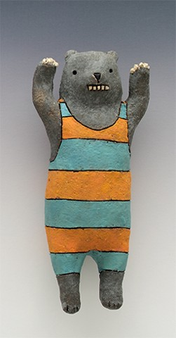 ceramic figure wall piece bear stripes by Sara Swink