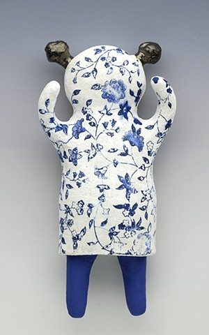 clay ceramic wall wally china girl sculpture by sara swink