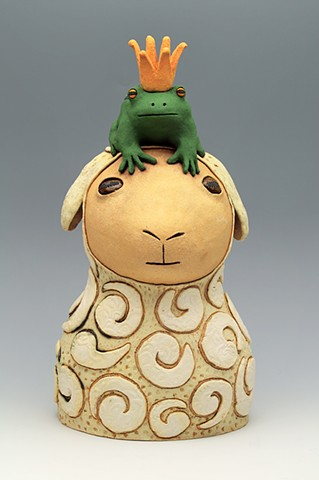 ceramic figure sheep frog prince by Sara Swink