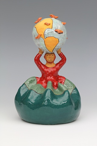 clay ceramic sculpture by sara swink woman figure earth