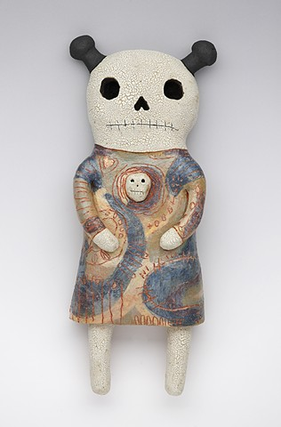 clay ceramic pottery figure skeleton skull by sara swink