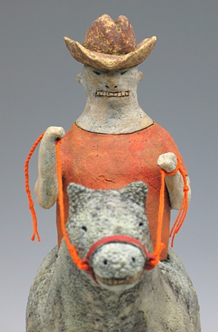 clay ceramic sculpture animal cowboy sara swink