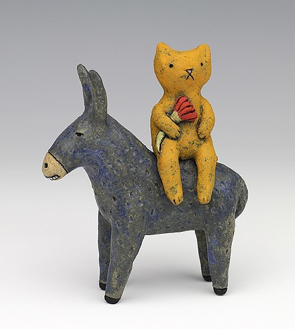ceramic figure animal donkey cat by Sara Swink