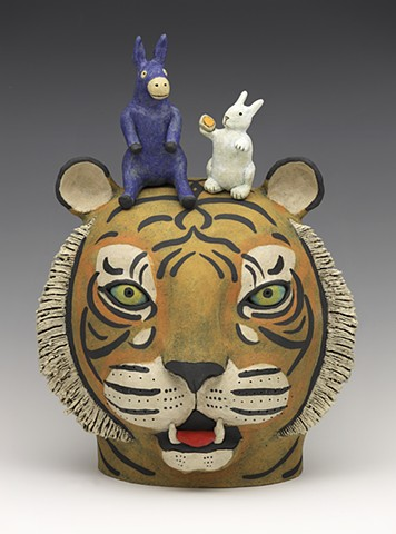 ceramic Sara Swink tiger donkey rabbit bunny clay