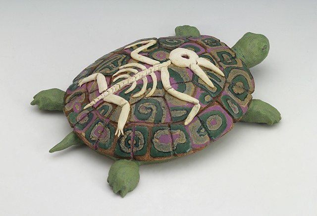 ceramic sculpture Sara Swink turtle bird skeleton