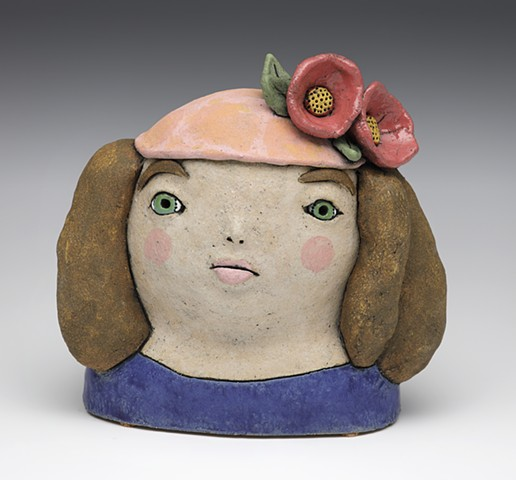 ceramic figure girl flower pink blue by Sara Swink