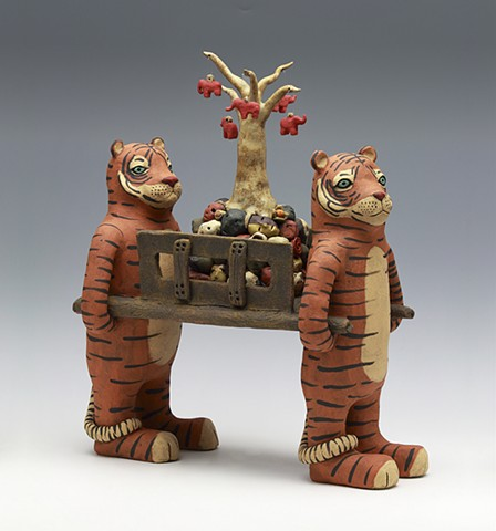 ceramic sculpture Sara Swink tiger palanquin tree elephant