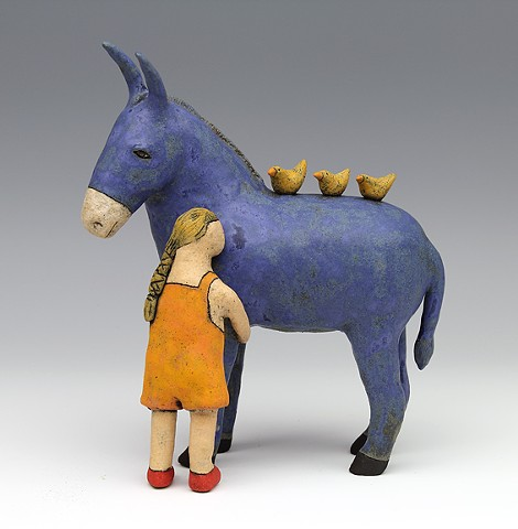 ceramic figure with animal, bird, donkey by Sara Swink