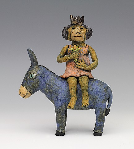 ceramic figure animal donkey monkey by Sara Swink