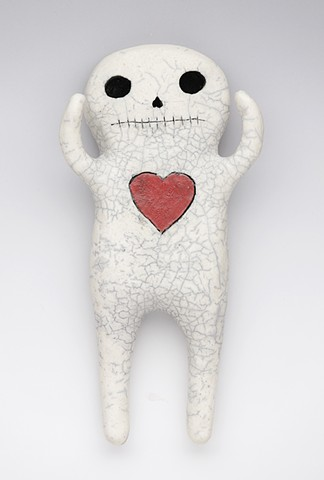 clay ceramic pottery figure skeleton skull red heart by sara swink