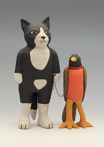 ceramic figure cat bird by Sara Swink