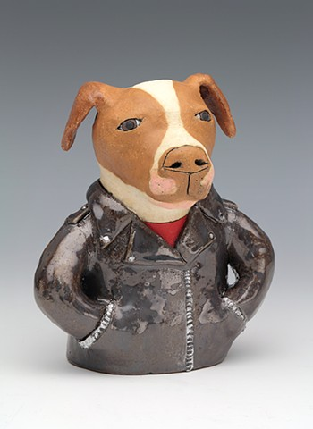 ceramic dog leather jacket pit bull pet portrait