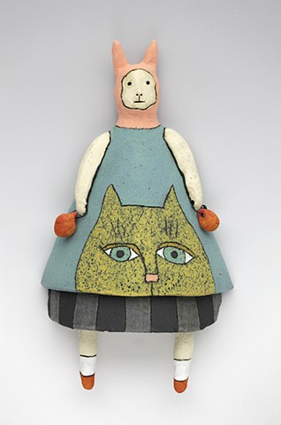 ceramic figure clay bunny rabbit cat by Sara Swink