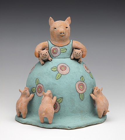 ceramic mother pig piglet  by Sara Swink